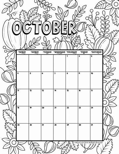 Calendar October Coloring Printable Activities Template Halloween