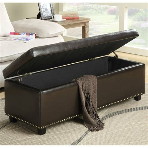 Brown Leather Ottoman by Modern Storage Ottoman Bench Brown Leather Tufted