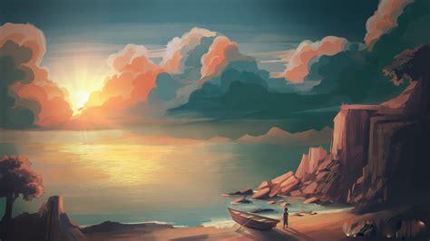 illustration sunset mountains sun artwork hd