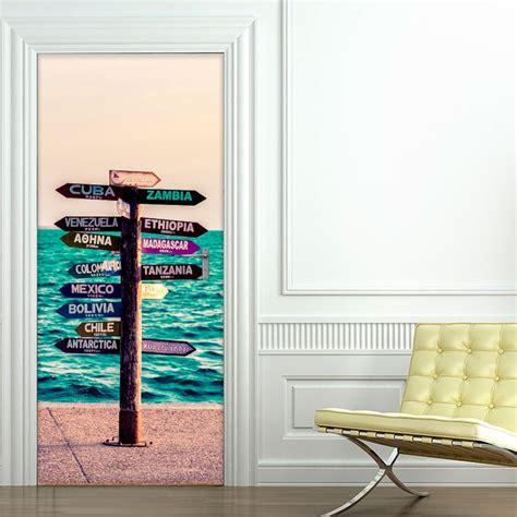stickers pour porte de cuisine sticker porte panneau en bord de mer pays du monde 204 x