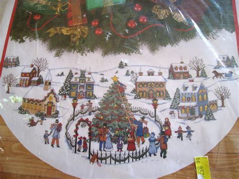 christmas holiday counted cross stitch tree skirt kit the