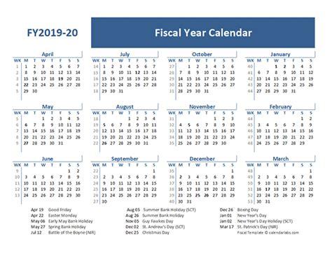 fiscal year calendar template uk  printable