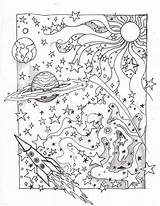 Coloring Galaxy Pages Space Adults Planet Print sketch template