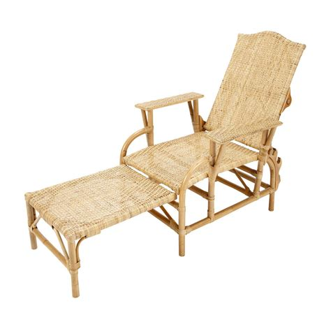 chaise longue rotin ancienne rattan steamer chair l 149cm seville maisons du monde