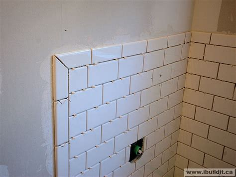mitered joint w subway master bath renovation