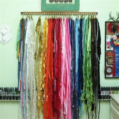 beautiful way to organize scarves with shower curtain