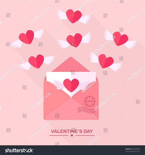 valentines day pink envelope flying heart stock vector