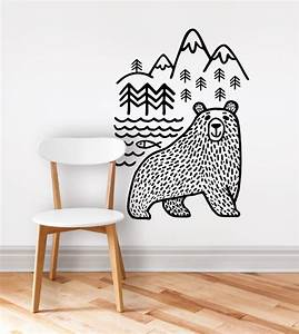 large black Bears Fish Mountain wall sticker art decals ...