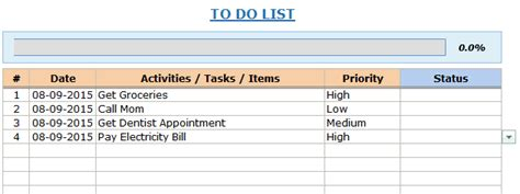 to do list template excel excel to do list template free