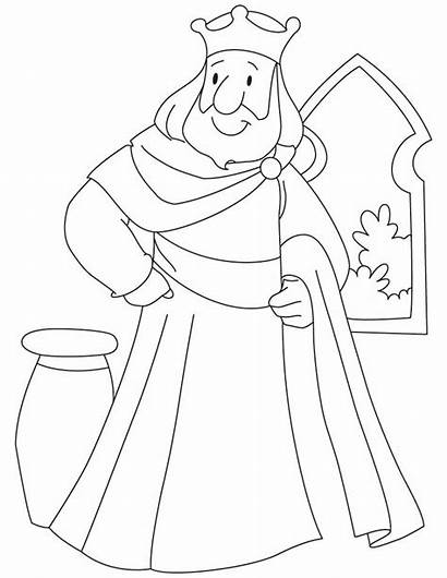 Coloring King Pages Solomon Drawing Standing Kings
