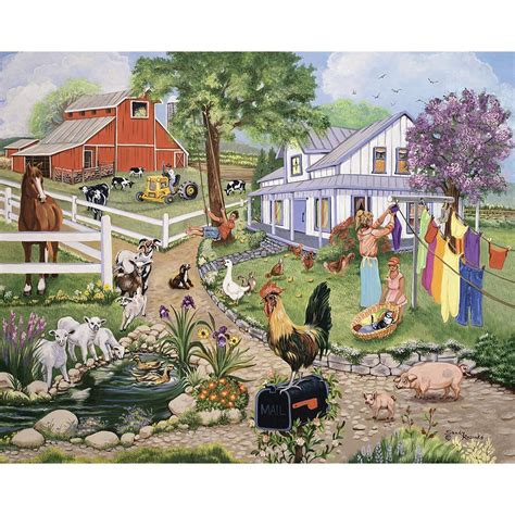 farm puzzle spring puzzles jigsaw country piece 500 paintings sandy rusinko scenes painting farmhouse bitsandpieces artist pieces kitchen living folk
