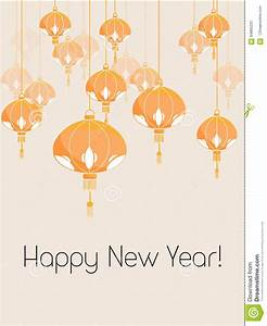 Card With Chinese Lantern Stock Vector - Image: 64865231