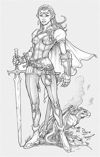 Character Dessin Elven Deviantart Coloring Female Fantasy