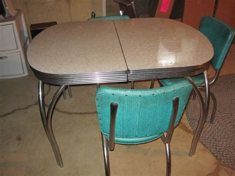 retro  formica kitchen table chairs  leaf good condition antique metal colors tables