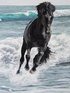 Horse running along the beach in the water, painting | Art ...
