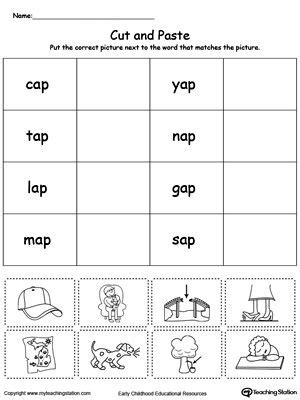 ap word family match picture  word phonics