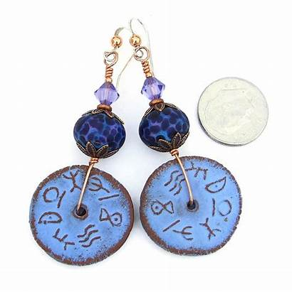 Earrings Handmade Lampwork Jewelry Ceramic Rustic Purple