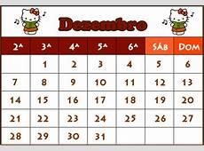 Calendario Dezembro 2009 para Imprimir A4 Hello Kitty