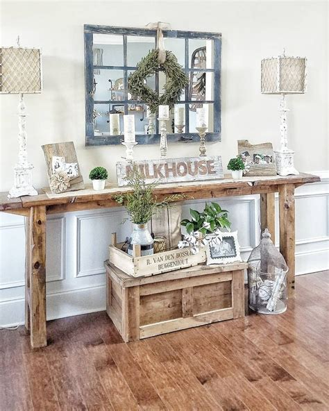 Decorating Ideas For Entry Tables by Farmhouse Style Console Table Rustic Narrow Table