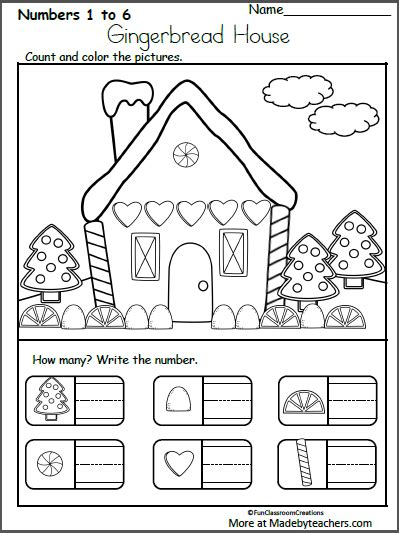 free december worksheets for kindergarten 880 | GingerHouse Count Write How Many