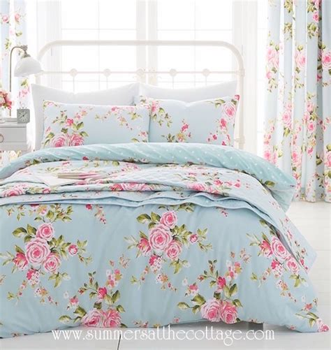 Shabby Chic Cottage Bedding Shabby House Blue Pink Roses Chic Duvet Cover Set