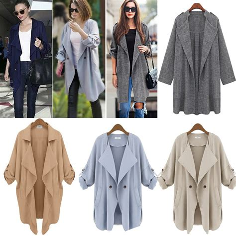 Plus Size Womens Lapel Loose Open Front Trench Coats Long