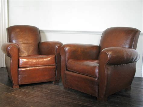 Good Pair Of 1930s French Leather Club Chairs