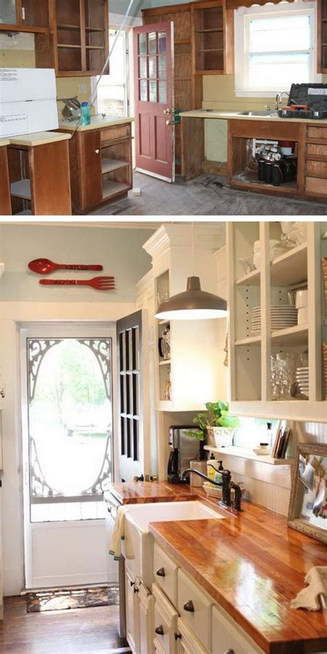 kitchen cabinet before and after before and after 25 budget friendly kitchen makeover 7748
