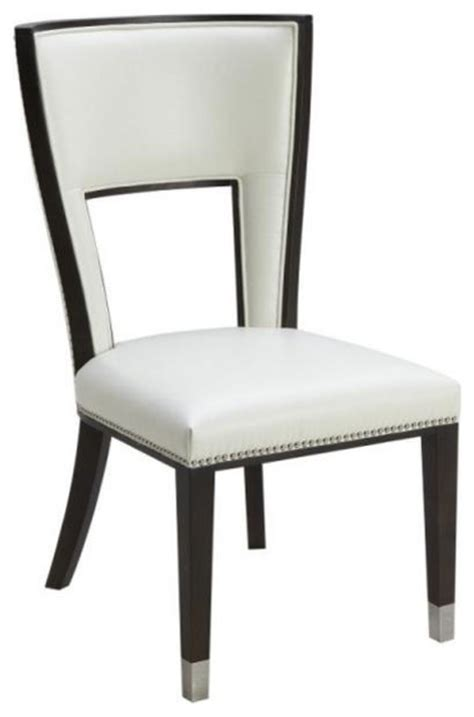 comfortable leather dining chair ivory transitional