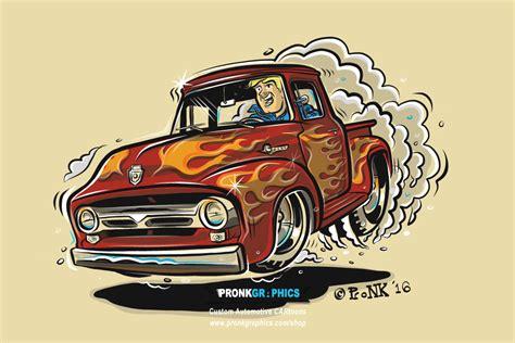 1950 Ford F100 Hotrod Cartoon