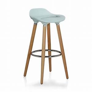 Chaise De Bar Bleu : tabouret de bar bleu avec pieds en h tre massif jade tabouret consoles tables chaises ~ Teatrodelosmanantiales.com Idées de Décoration