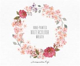 watercolor wreath painted floral wreath clipart wedding invitation clip commercial