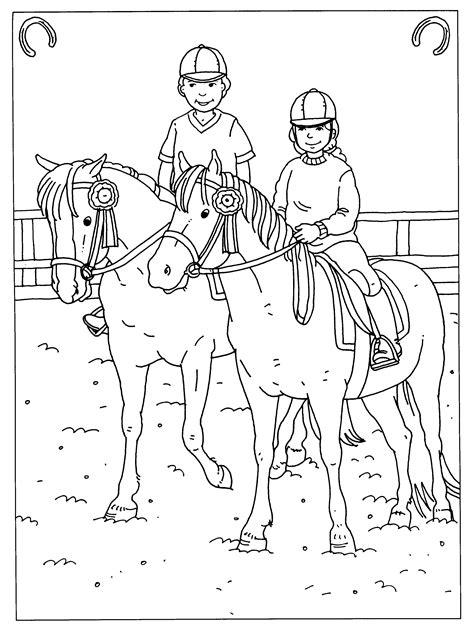 Paardrijden Kleurplaat by Kleurplaten Paradijs Kleurplaat Met Zijn Twee N Paardrijden