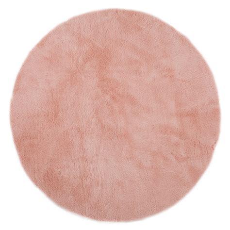 tapis rond rose poudre pilepoil pour chambre enfant