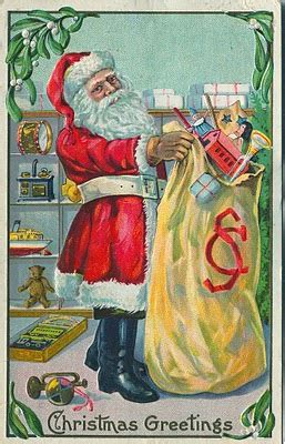 vintage clip art antique santa postcard