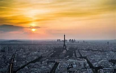 Paris Eiffel Tower Sunset Sunrise Buildings Sunlight
