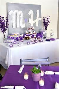 themed centerpieces pretty purple bridal shower