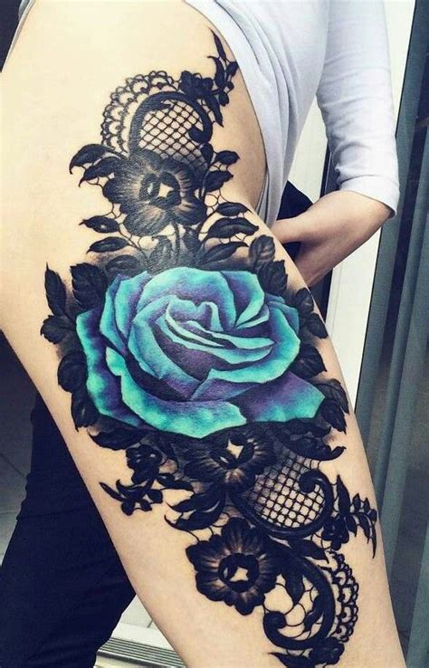 An Amazing Thigh Piece Blue Rose And Lace Tattoo