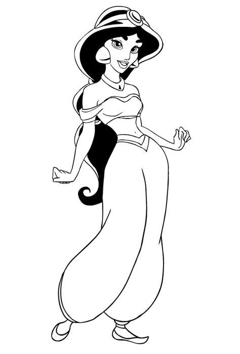 disegno della principessa jasmine  aladdin da colorare