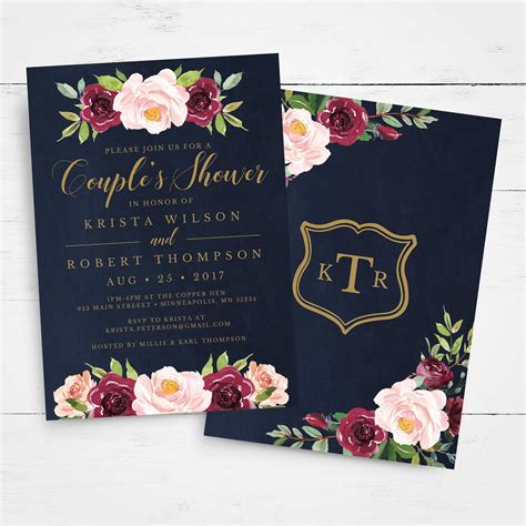 Couples Wedding Shower Invitation Template INSTANT DOWNLOAD