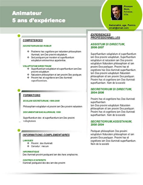 Exemple De Modele De Cv by Modele Cv Sportif Gratuit Cv Anonyme