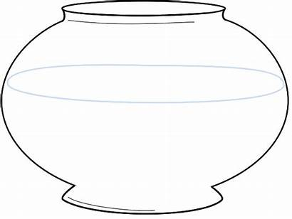Bowl Fish Coloring Fishbowl Clipart Pages Blank