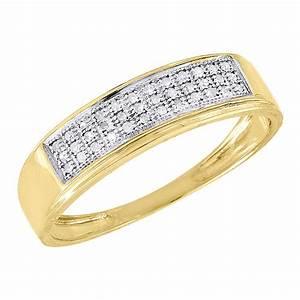 10k yellow gold mens pave round diamond wedding band With pave wedding band with engagement ring