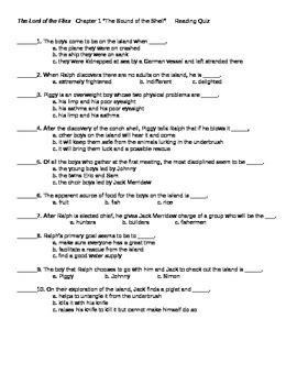 lord of the flies chapter 1 reading quiz by marsha mentzer