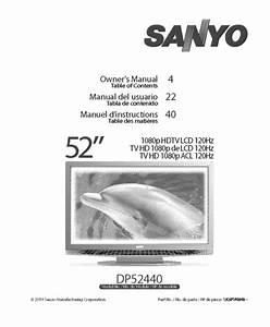 Sanyo Flat Panel Television Dp52440 User Guide