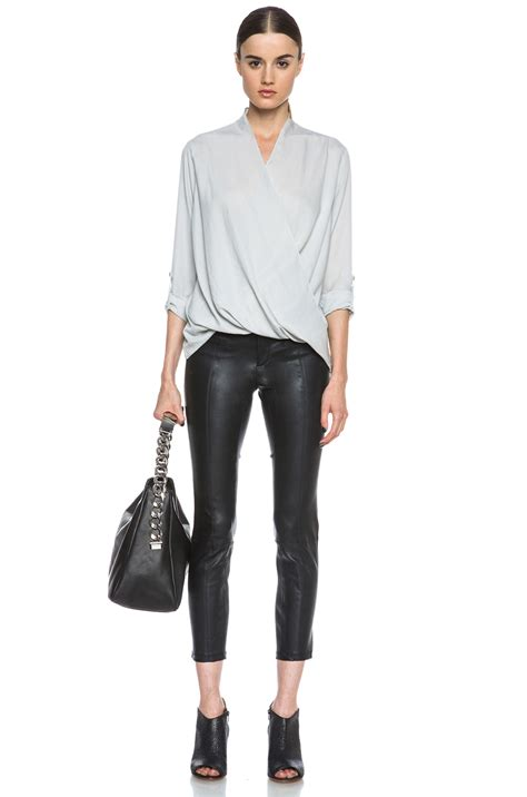 Stretch Covers For Sofas by Helmut Lang Stretch Plonge Cropped Leather Pant In Black