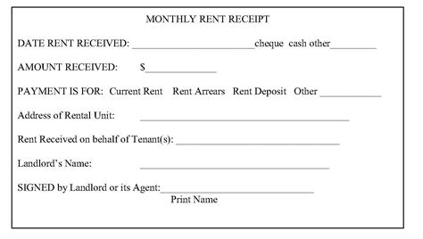 easy to use house or property rent receipt sles to inspire you violeet
