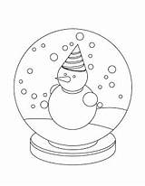 Coloring Snowglobe Pages Colouring Printable Simple Print sketch template