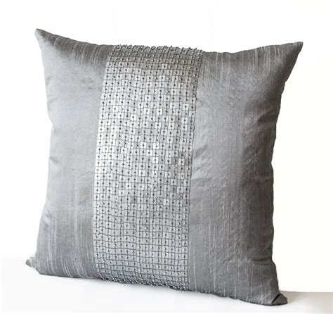 gray throw pillows decorative throw pillow covers grey color block silk sequin