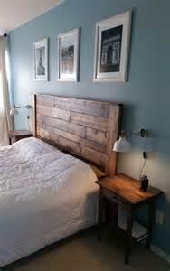 master bedroom make over pallet headboard king platform bed ikea wall ls and nightstands